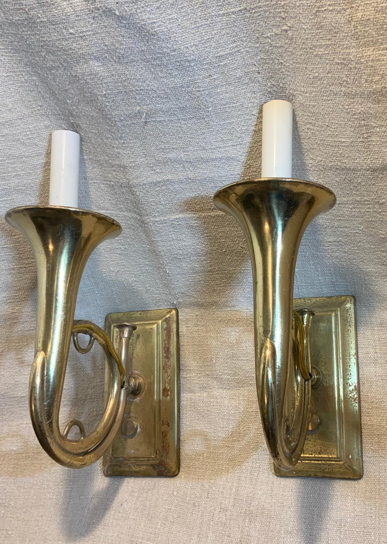 American Pair of Musical Trumpet Like Brass Wall Sconces For Sale