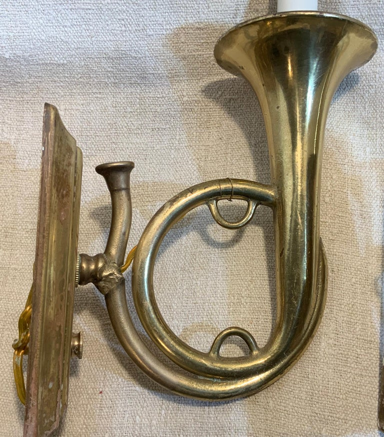 Mid-20th Century Pair of Musical Trumpet Like Brass Wall Sconces For Sale