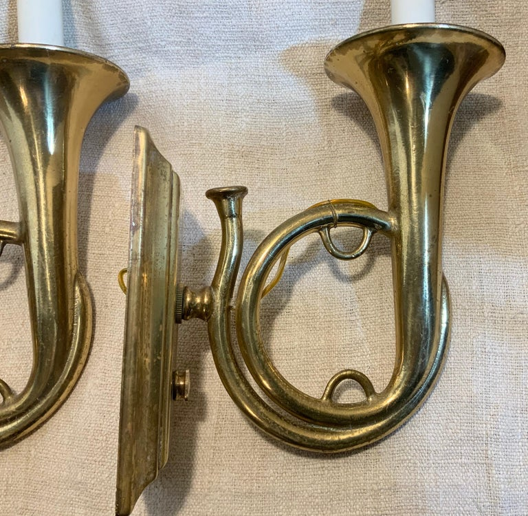 Pair of Musical Trumpet Like Brass Wall Sconces For Sale 1