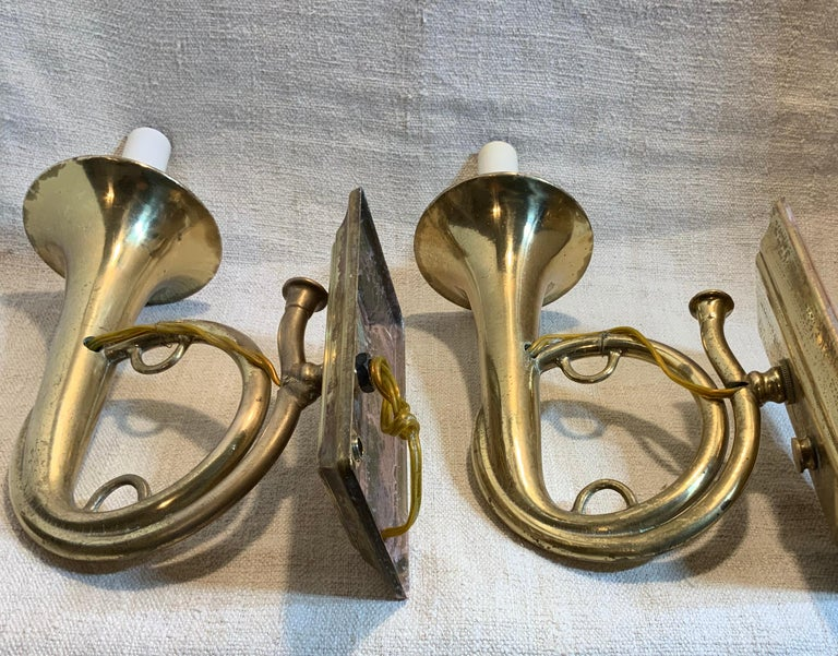 Pair of Musical Trumpet Like Brass Wall Sconces For Sale 3