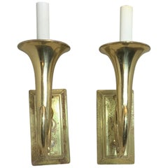 Pair of Musical Trumpet Like Brass Wall Sconces