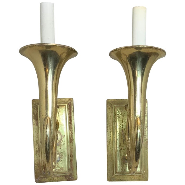 Pair of Musical Trumpet Like Brass Wall Sconces For Sale
