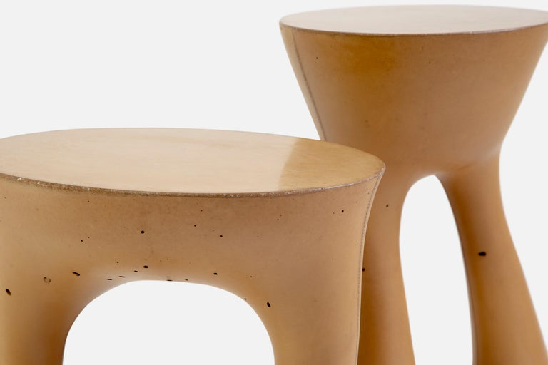 Cement Pair of Mustard Kreten Side Tables from Souda, Made to Order For Sale