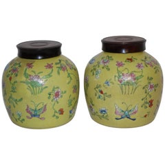 Pair of Mustard Yellow Jars with Wooden Lids, Chinese, Early 20th Century