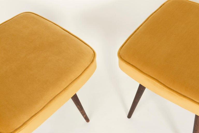 Mid-Century Modern Pair of Mustard Yellow Stools, 1960s For Sale