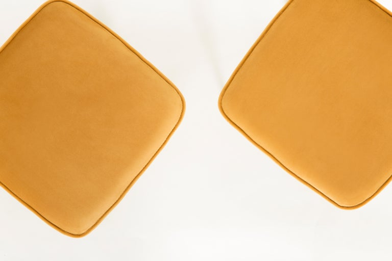 Hand-Crafted Pair of Mustard Yellow Stools, 1960s For Sale