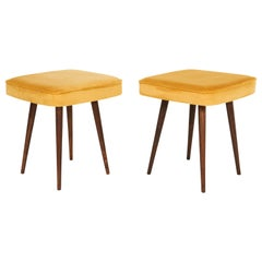 Pair of Mustard Yellow Stools, 1960s