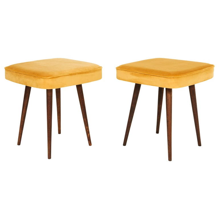 Pair of Mustard Yellow Stools, 1960s For Sale