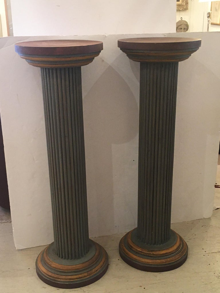 Mid-20th Century Pair of Muted Neoclassical Carved Wood Painted Architectural Columns For Sale