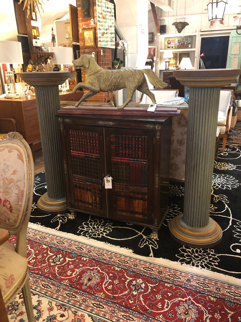 Pair of Muted Neoclassical Carved Wood Painted Architectural Columns For Sale 1