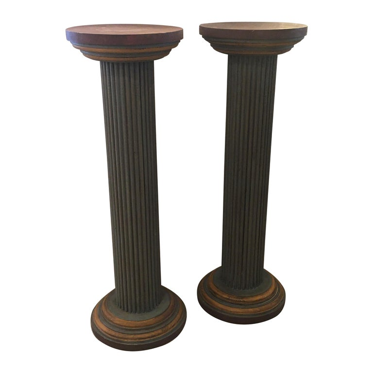 Pair of Muted Neoclassical Carved Wood Painted Architectural Columns For Sale