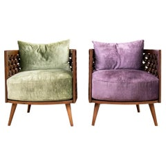 Pair of Nada Debs Contemporary Arabesque Wood Tub Chairs