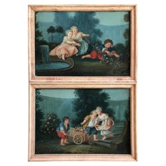 Pair of Naive French Paintings, Garden Theme, 18th C.