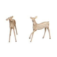 Pair of Naive Style Carved Wooden Fawns from New Hampshire Lodge, circa 1930