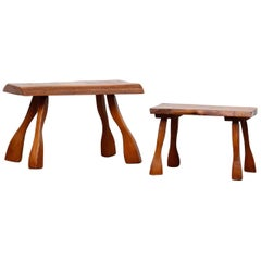 Pair of Nakashima Style Small Tree Trunk Tables by C.A Beijbom