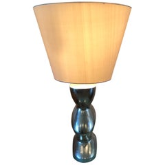 """Pair of Nancy Corzine """"Keaton"""" Lamps in Gilded/Silver Finish with Shades"""