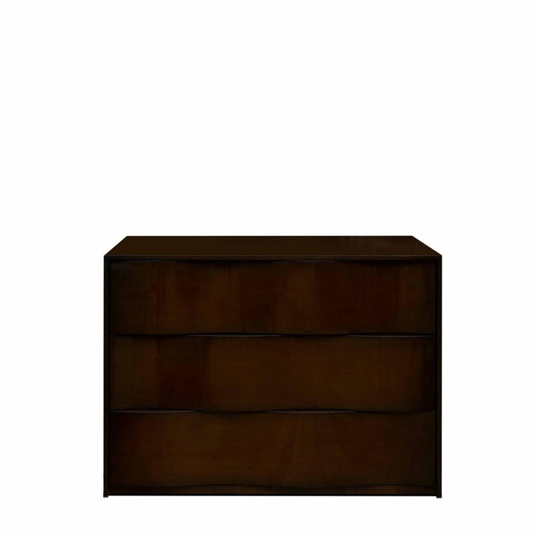 English Pair of Nancy Corzine Walnut Nightstands / Small Dressers with Sculptural Fronts For Sale