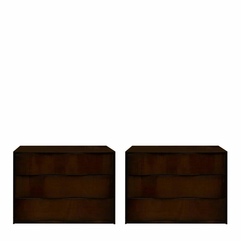 Pair of Nancy Corzine Walnut Nightstands / Small Dressers with Sculptural Fronts In Excellent Condition For Sale In New York, NY