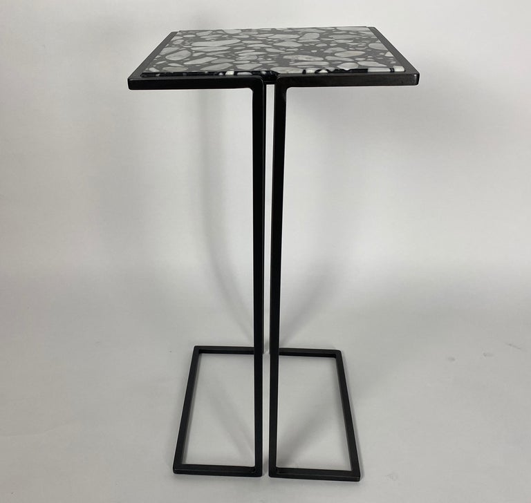 Contemporary Pair of Nantes Side Tables, by Bourgeois Boheme Atelier 'Model A' For Sale
