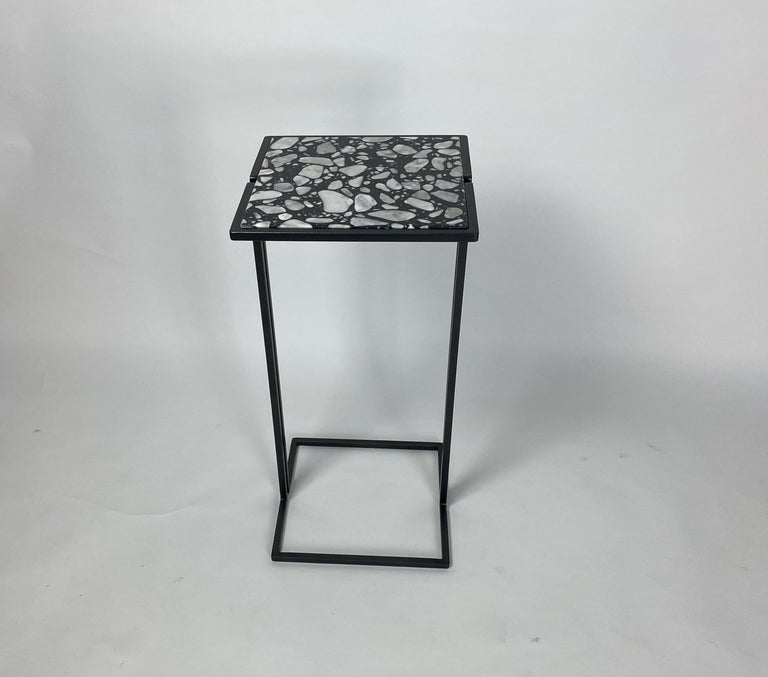 Steel Pair of Nantes Side Tables, by Bourgeois Boheme Atelier 'Model A' For Sale