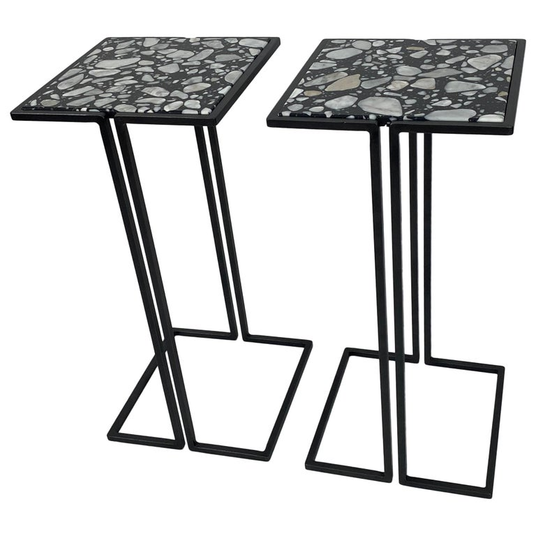 Pair of Nantes Side Tables, by Bourgeois Boheme Atelier 'Model A' For Sale