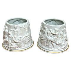 Pair of Naples/Capodimonte Porcelain Blanc de Chine Bacchanalian Cachepots