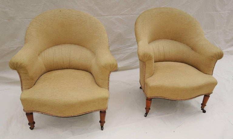Fabric Pair of Napoleon III Armchairs For Sale
