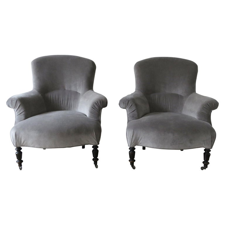 Pair of Napoleon III armchairs, 1880–89, offered by Rooms and Gardens, Inc.