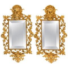 Pair of Napoleon III Brass Neptune Motif  Mirrors