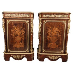 Pair of Napoleon III Cabinets with Rich Decoration in Wood Marquetry 19th Centur