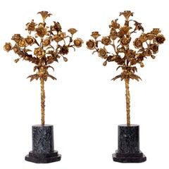 Pair of Napoleon III Candelabra Gilded Bronze Marble Third Quarter of the 1800