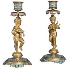Pair of Napoléon III Champlevé  Figural Candlesticks