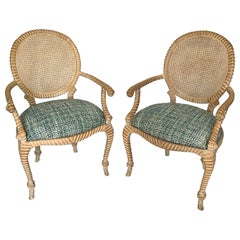 Pair of Napoleon III Classic Rope Chairs with Caned Backs from 1960s