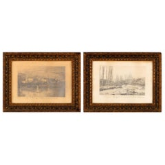 Pair of Napoleon III Framed Landscape Drawings, France, 1870s