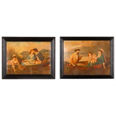 Pair of Napoleon III Framed Prints with Boating Scenes, France Late 1800s