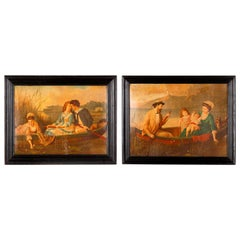 Pair of Napoleon III Framed Prints with Boating Scenes, France, Late 1800s
