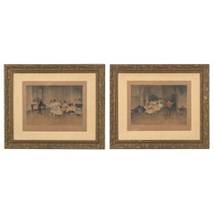 Pair of Napoleon III Frames with Prints of Dancers, France, 1870s