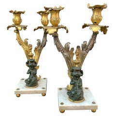 Pair of Napoleon III French Bronze Candelabra on Marble Base