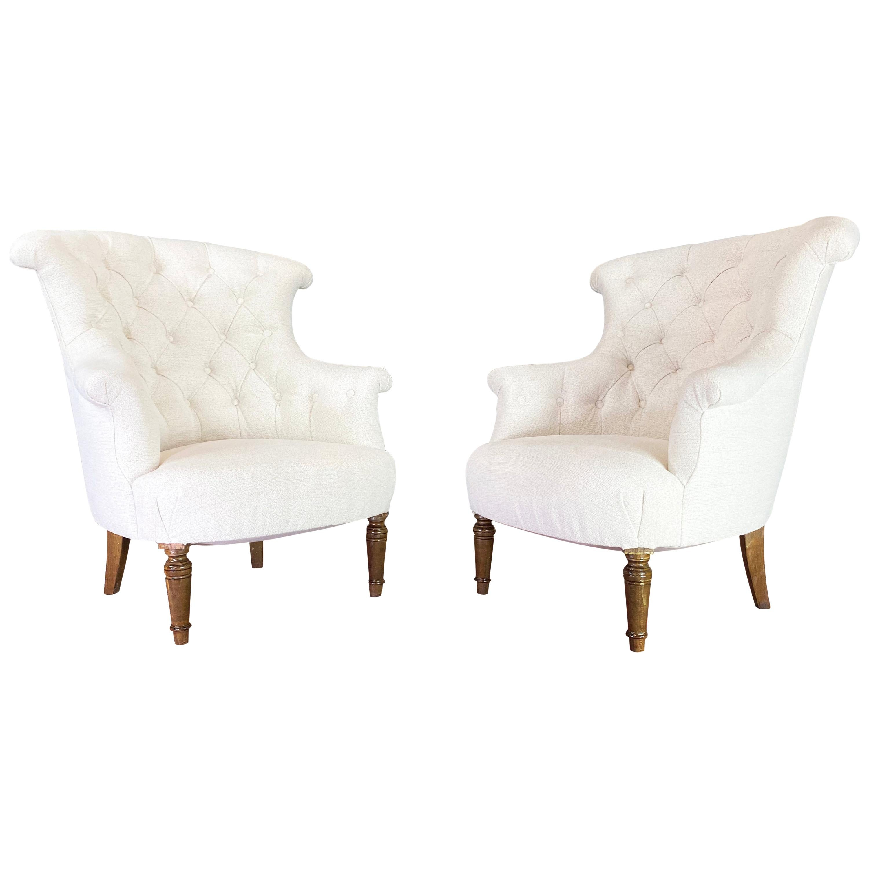 Pair of Napoleon III French Crapaud Armchairs Boucle Armchairs