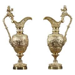 Pair of Napoleon III Gilt Bronze Ewers