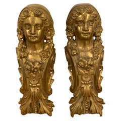 Pair of Napoleon III Gilt Bronze Female Medallion Furniture Mounts