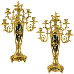 Pair of Napoleon III Gilt-Bronze Six-Light Candelabras Attributed to Beurdeley