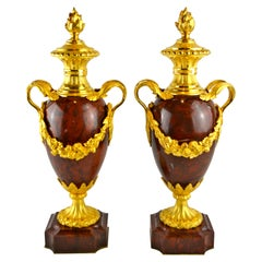 Pair of Napoleon III Griotte Marble and Gilt Bronze Casolettes