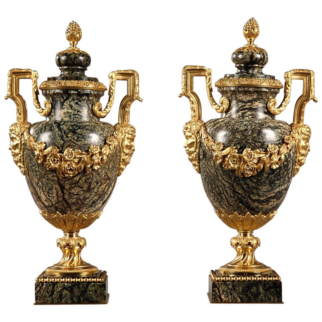 Pair of Napoleon III Marble and Gilt Bronze Vases, 19th Century