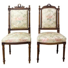 Pair of Napoleon III Oak Chairs Upholstered French, Late 19th Century