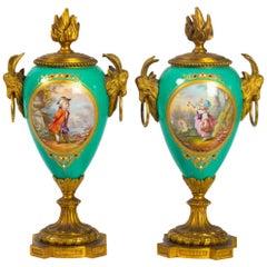 Pair of Napoleon III Period Candlesticks in Porcelain and Golden Bronze