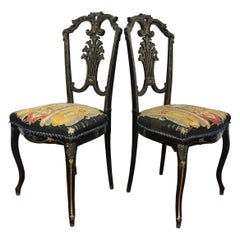 Pair of Napoleon III Period Chairs Lacquered Wood and Mother of Pearl Marquetry