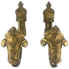 Pair of Napoleon III Period Empire Gilt Bronze Curtain Hooks or Tie Backs
