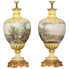 Pair of Napoléon III Polychromed Porcelain Vases Ormolu-Mounted in Lamps