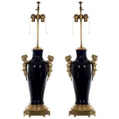 Pair of Napoleon III Sevres Cobalt Blue Vase Lamps, circa 1865